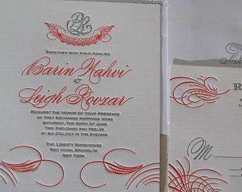 Letterpress Wedding Invitation Sample, Wedding Invitation, Classic Wedding Invitation, Wedding Invitations, Flourish Wedding Invitation