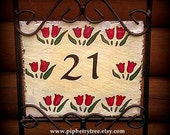 Hand Painted Decorative Address Slate -Red Tulip Border