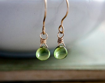 Peridot Earrings, Drop Earrings, Gold Earrings, August Birthstone, Lime Green, Peridot Jewelry, Birthstone Earrings, Dangle Earrings