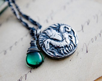 Dragon Necklace, Dragon Pendant, Green Gemstone, Fine Silver, Sterling Silver, Viking Jewelry, Dragon Coin, Emerald Green