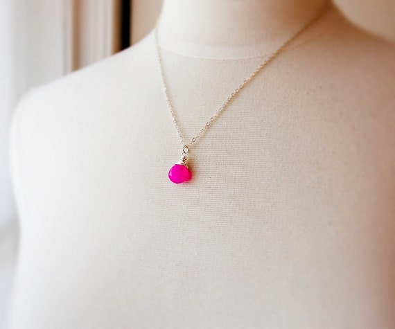 Hot Pink Necklace Wire Wrap Sterling Silver Pendant Gemstone Fashion Neon Fluorescent