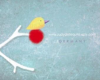 100 custom business cards - Baby Bird White Branch