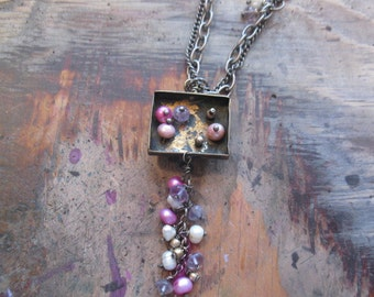 brass box with sterling and pearls necklace handmade woman's jewelry