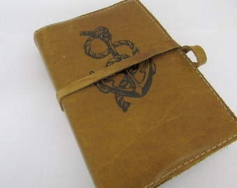 Leather Journal - Leather Sketchbook Cover - Personalize - Monogram - Nautical