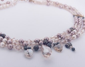 Pale Gold Pearl and Swarovski Crystal 3-Strand Necklace