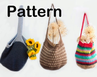 Grocery Tote Crochet Pattern PDF, Digital Download, Market Bag Pattern, Slouchy Bag, Book Bag, Beach Bag, Crocheted Tote Pattern