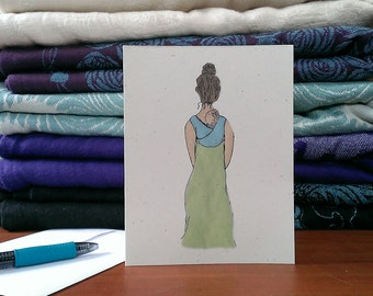 Babywearing – New Mom Card – Baby Shower Card – Blue Woven Wrap Babywearing Illustration – Blank Card – New Baby Card – Any Occasion Card