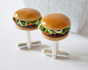 Hamburger with Tomato Lettuce Onions Cufflinks - Miniature Fast Food Jewelry - Schickie Mickie Original Miniatures