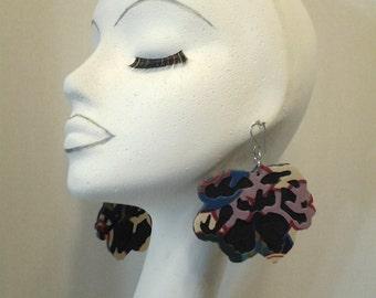 Multiple Color Fabric and Dark Blue Denim Fabric Flower Earrings, Women Earrings, Fashion Earrings, Fabric Earring, Large Earrings