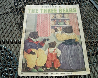 Vintage Three Bears 1939 Childrens Story Book