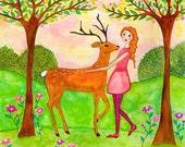 Original Painting Deer and Girl, Mixed Media Art, Girl Decor, Nursery Decor, Folk Art