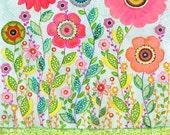Original Art Flower Painting, Nursery Decor Art , Home Decor, Flower Mixed Media Art