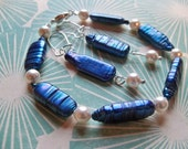 BLUE Stick PEARL Beaded Bracelet and Earrings/PEARL Bracelet/Pearl Earrings