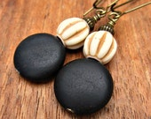 Black Matte Jasper and Ivory Acrylic Dangle Earrings: Ebb
