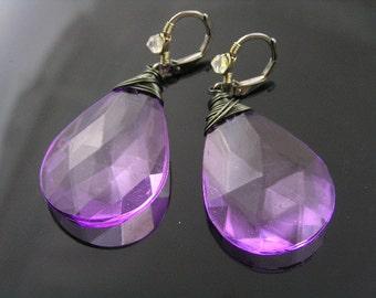 Purple Earrings, Lucite Earrings, Purple Dangle Earrings, Acrylic Earrings, Light Weight Earrings, Purple Jewelry, Large Earrings, E1866