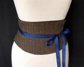 Steampunk Corset Shiny Pinstripe Detail Brown Waist Cincher Belt Any Size B