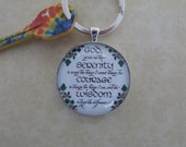 Serenity Prayer Keyring, AA Gift, Glass Cabochon, Matching Ring Attached #605KR