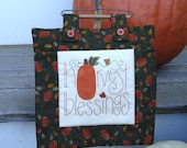 Harvest Blessings Thanksgiving Mini Quilt Decoration on Heart Wire Hanger Pumpkin Decorations