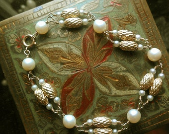Genuine Cultured Pearl Seed Pearl and 14k Gold Bead Bracelet Vintage Estate Jewelry 1960s