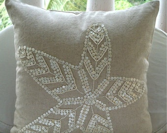 "Ecru Pillow Cases, 16""x16"" Cotton Linen Pillows Covers For Couch, Square  Starfish Ocean And Beach Theme Pillows Cover - Starfish Pearls"