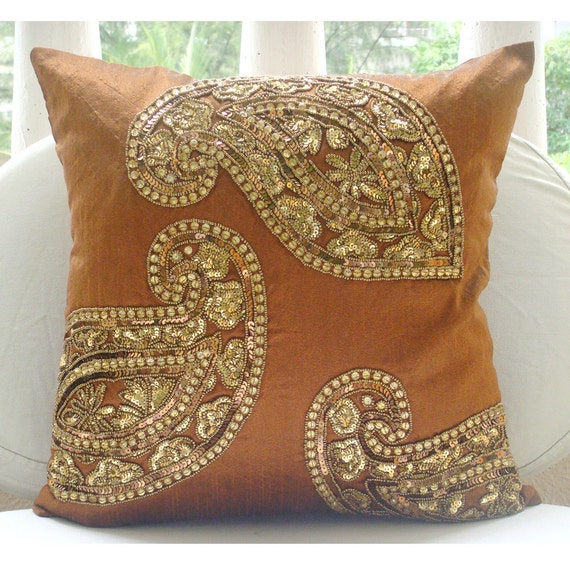 Orange Decorative Bed Pillows : Decorative Throw Pillow Covers 20x20 Burnt Orange Silk