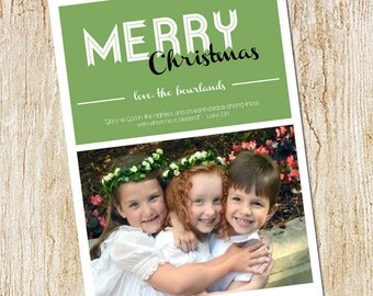 Custom Photo Christmas Card - Digital file or Printed Cards - Photo Holiday Card - Picture Christmas Card