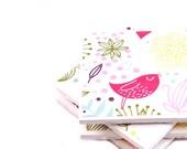 SALE - Ceramic Bird Coasters - Birds and Flowers (Set of 4 Tile Coasters)