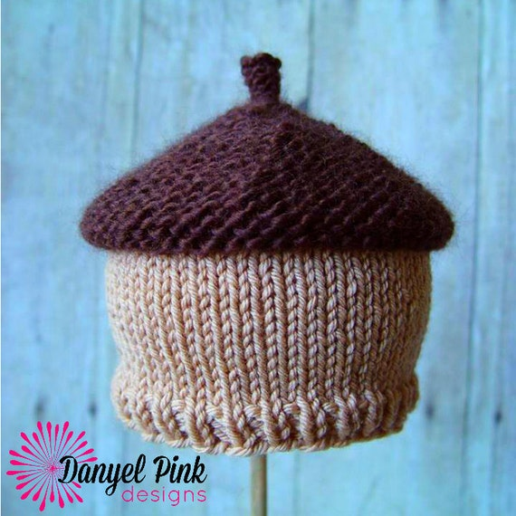 Knitting Pattern For Acorn Hat : Acorn Beanie KNITTING PATTERN autumn hat