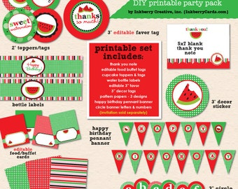 Sweet Watermelon Birthday Party (Red) - DIY/Printable Complete Party Pack- Instant Download PDF File