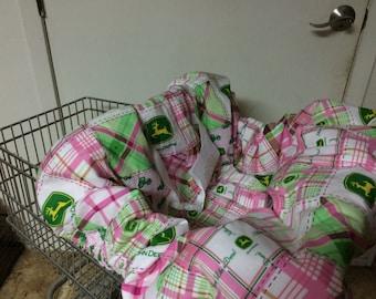 Pink John Deere shopping cart cover/ high chair cover