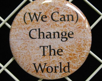"One 2 1/4"" pinback button Yes We Can"
