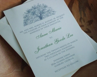 Classic Oak Tree Wedding Invitations - Natural Ivory Paper
