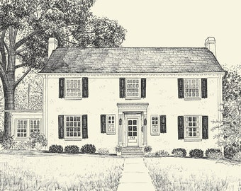 Custom House Portrait Pen & Ink Drawing - First Anniversary or Housewarming Gift - 8X10 or 11x14 inches