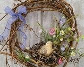 Strawflower Fields Wreath Spring Wreath Bird Nest