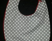 Reversable Grey and white polka dot with maroon minky.