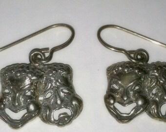 Sterling HAPPY & SAD FACE  Earrings-Pierced