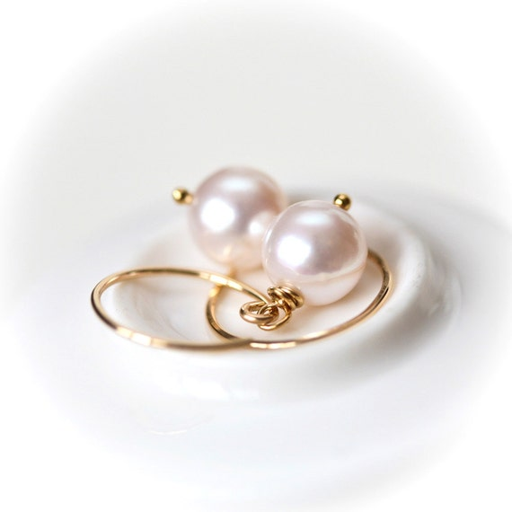 Simply Pink Pearl Gold Filled Earrings