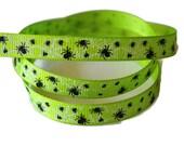 Spiderweb Grosgrain Ribbon, Halloween Ribbon, Spider Web Ribbon, Gothic Hairbow, Spiderweb Grosgrain, Bright Green Ribbon, Holiday Grosgrain