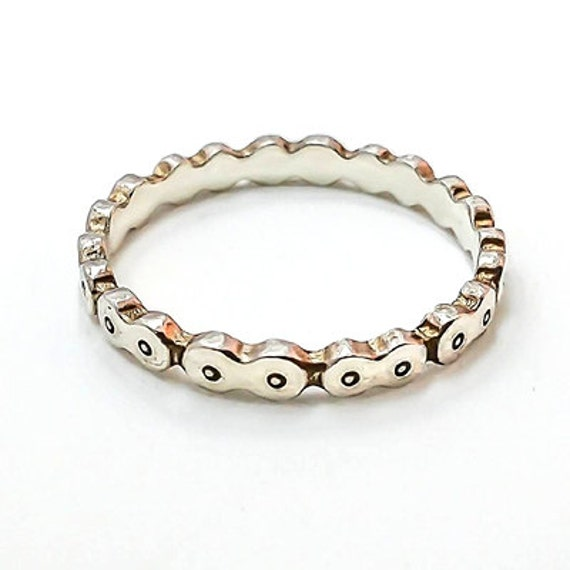 bicycle chain ring 14k white gold