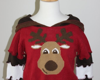 Reconstructed Sweater hoodie - girls size 3T