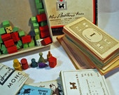 Craft Supplies - 1950s Monopoly Game PARTS - Monopoly Money, Game Pieces, Center Board Cards, Property Cards, Hotels Motels