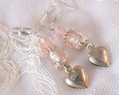 Precious Pink Puffy Heart and Beaded Earrings