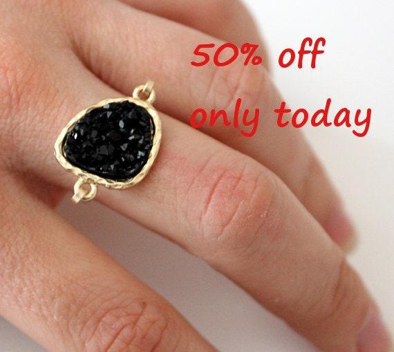 Druzy black ring 14kt gold filled - custom size