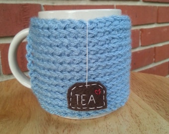 hand knit tea mug cozy cup cozy in antique teal blue with hanging tea patch