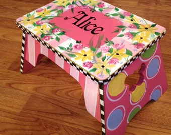 Whimsical Painted Furniture, Personalized Step Stool Custom Childs Stool Chair
