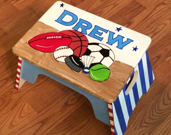 Whimsical Painted Furniture, Step Stool Custom Childs Stool Chair personalized hand painted