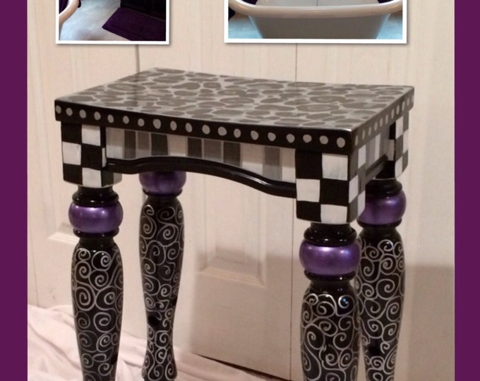 Whimsical Painted Furniture, painted bar stool // custom designed hand painted