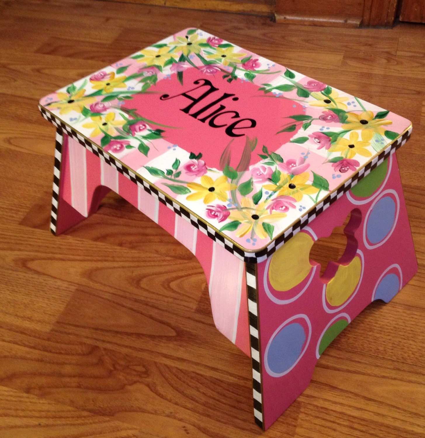 Whimsical Painted Furniture Personalized Step Stool Custom