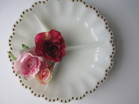 Vintage Milk Glass Gold Beaded Divided Serving Bowl - Wedding Decor