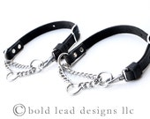 Martingale Collar--adjustable leather and chain collar in TAN or BLACK